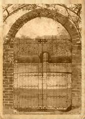 Ladew Gardens Gate ~ vintage sliding - HSS! (karma (Karen)) Tags: gardens gates bricks maryland arches nostalgia oldphoto monkton ironworks hss ladewtopiarygardens nrhp cmwdbw vintagegate sliderssunday ipiccy