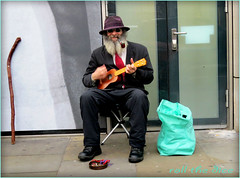 `1578 (roll the dice) Tags: london londonist kensingtonchelsea brompton knightsbridge sw1 sw7 harrods shops shopping fashion busker thebill hollis mad sad funny stick beard guitar music money cash homeless people natural man streetphotography uk art classic urban unawaew unknown england bag hat sunglasses tunes corner ukulele seat chair tie police sound notes stranger candid portrait wisdom singer sing bent crooked smoke bill band tourism