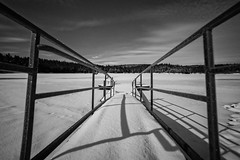 Lake At Night (Rustic Lens Photography) Tags: trees winter sky blackandwhite usa white lake snow tree texture ice water pine night clouds forest bench stars frozen fishing dock solitude frost alone shadows peaceful rail idaho clear rails prairie winchester hdr camas starscape