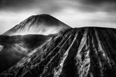 Cones (Collin Key) Tags: bw mountain mountains indonesia landscape dawn volcano java peak idn mountbromo seaofsand mountsemeru tenggercaldera mountbatok