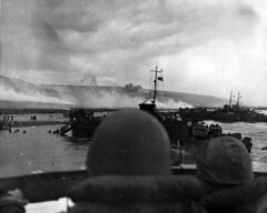 LCI's USS 553 and 410 land troops at Omaha Beach, on D-Day as allies invade France.   Location:  Omaha Beach, Normandy, France. (HarryKidd) Tags: ww2 landingcraft dday omahabeach