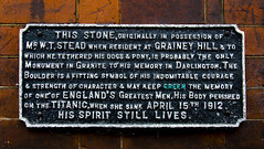 Mr W T Stead (Preston Ashton) Tags: england dogs monument library 15 boulder pony memory granite april darlington strength 1912 titanic 15th tethered courage perished stead indomitable wtstead 04151912 15041912 19120415