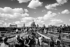 DSCF8475 (opnwong) Tags: city bridge england blackandwhite bw london clouds blackwhite cityscape millenniumbridge cloudsstormssunsetssunrises