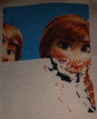 Shadowy chin and facial features. (diedintragedy) Tags: anna art frozen crossstitch arty sewing crafts picture progress stitching tapestry artsandcrafts kristoff countedcrossstitch disneycrossstitch