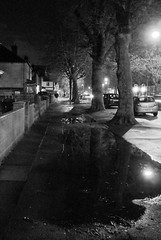 Aigburth Road after heavy rainfall (Towner Images) Tags: liverpool garston suburb rain puddle night evening city merseyside towner townerimages bw mono monochrome greyscale monochromatic