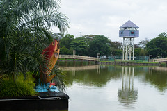 Rain stop (jethro_my) Tags: fish rain statue miri sarawak taman bulatan