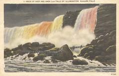 Rock of Ages and American Falls by Illumination - Niagara Falls (The Cardboard America Archives) Tags: newyork ontario vintage niagarafalls postcard waterfalls