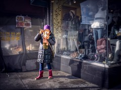 20160124 DSC05213 200 Edit 011c Sm (NYC Subway Rider) Tags: street woman eyecontact chinatown eating candid chinese driveby pedestrian wideangle sidewalk queens hdr rooseveltavenue streetshooter fauxbokeh sel16f28 sonya6000 vclecu2ultrawideconverter