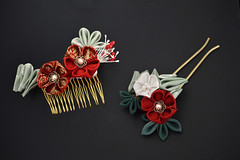 New Years Kanzashi. Tsumami Zaiku. (Bright Wish Kanzashi) Tags: new flower art pine hair asian japanese pin handmade oneofakind ooak plum style bamboo ornament fabric years ornate fiber technique tsumami kanzashi zaiku