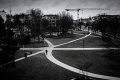 Kreuzende Wege (Rubina V.) Tags: street city people berlin streetphotography menschen monochrom stdte linien strasen