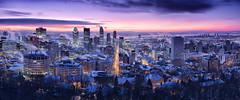 Sortie de nuit/Night out/Ut ur natten/Salida de noche (Elf-8) Tags: city morning winter sky cloud cold skyline dawn montreal fume