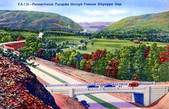 Pennsylvania Turnpike through Famous Alquippa Gap PA (Edge and corner wear) Tags: road vintage pc highway pennsylvania postcard system pa interstate turnpike americas superhighway