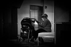 the babysitter (FedeSK8) Tags: people blackandwhite stroller babysitter federico biancoenero scotto fedesk8 fujifilmxm1