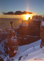 Winter Sunrise at Thor's Hammer (Alfred J. Lockwood Photography) Tags: morning winter snow nature sunrise landscape dawn utah nationalpark sandstone brycecanyon thorshammer brycecanyonnationalpark alfredjlockwood