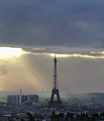 spot light for the Lady (airport92) Tags: sunset sky paris france monument clouds outside europe eiffeltower nopeople