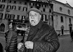 What was that!! (Baz 120) Tags: life street city portrait people urban blackandwhite bw italy rome roma monochrome mono europe italia faces candid strangers streetphotography streetportrait olympus monotone manual unposed streetfaces omd decisivemoment candidportrait candidphotography m43 streetcandid mft streetphotograph primelens em5 romestreets romepeople candidstreet zonefocusing candidface flashstreetphotography 75mmfisheye romecandid grittystreetphotography