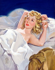 Leave Cancelled (Tom Simpson) Tags: woman sexy illustration vintage painting nude bed bedroom blonde pinup pinupart leavecancelled