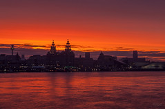 NPD960401 (nicknpd) Tags: uk red seascape ferry sunrise waterfront cathedral liver mersey wallasey merseyside 3graces