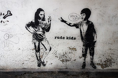 Rude Kids in Bermondsey (tim constable) Tags: streetart london rivalry painting children fun stencil mural sister brother lol attitude argument conflict bermondsey sibling argue quarrel oneupmanship rudekids timconstable enfantterribles