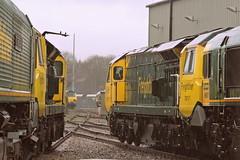 Class 70's, Leeds Midland Road Depot (mike_j's photos) Tags: rain nikon leeds depot tmd freightliner midlandroad 70001 70017 70014 class70 p530