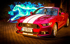 American muscle 2 (David In The Forest) Tags: new light lightpainting ford night canon reflections flames pony fordmustang musclecar