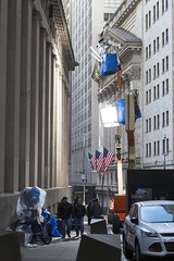 Filming on Wall Street (wwward0) Tags: nyc lamp downtown outdoor manhattan financialdistrict cc wallst filmcrew fidi wwward0