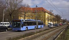 Citaro-Gelenkbus M-KC 7922 zwischen den Haltestellen Borstei und Hanauer Strae auf der Fahrt nach Moosach (Frederik Buchleitner) Tags: bus munich mnchen mercedes benz tram baustelle mercedesbenz sev streetcar omnibus westfriedhof mvg gelenkbus trambahn citaro schienenersatzverkehr strasenbahn hadersdorfer linie20 ersatzbus mkc7922
