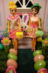 Stepping out... (Primrose Princess) Tags: vintage pose easter spring dolls barbie retro easteregghunt easterbonnet barbiedoll easterparade easterhat vintagepurse vintagebarbiedress japaneseposedoll