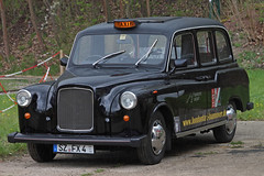 Black Cab (The Rubberbandman) Tags: auto uk england black london english car museum modern sedan austin germany carriage britain outdoor cab taxi great tram hannover odd german vehicle british hackney sight fairway hanover saloon fahrzeug fx4 lti carbodies