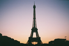 Eiffel (Veggiemee) Tags: sunset sky paris france tower film silhouette europe fuji purple rangefinder eiffel tourist 200iso ricoh 500g filmisnotdead