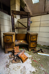Looking Good (Andrew Gibson.) Tags: urban abandoned architecture hospital scary closed cheshire boots decay ghost ruin makeup haunted human haunting dresser exploration derelict flint urbanexploring morgue urbex dressingtable holywell northwales sonya7ii ilce7m2 lluestyhospital