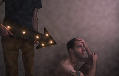 Where to. (Mitch2742) Tags: pink light portrait people art fog tattoo composite clouds photoshop canon lost marquee lights cool thought sad surreal wideangle sloth despair arrow ponder 1022 directionless