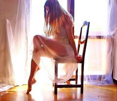 The Light ... (MargoLuc) Tags: morning light portrait woman white me girl backlight self hair golden spring chair mood dress legs silk skirt blond april romantic dreamy feeling emotions tulle artisawoman