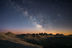 Dream big and dare to fail (traumlichtfabrik) Tags: italien schnee winter sky italy mountain snow mountains alps nature horizontal night stars geotagged europe long pentax nacht outdoor nopeople it berge serene walimex position dolomites bower lat k5 sterne brixen milkyway dolomiten 2016 milchstrasse 14mm mountainridge plose samyang trentinoaltoadige plosehtte