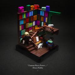 007 - Flourish and Blotts (roΙΙi) Tags: harrypotter chamberofsecrets flourishandblotts books malfoy draco bookshelves interior bookshop paradise hogwarts rowling bricks magic vignette