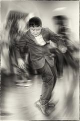 He got the moves (dejongbram) Tags: boy party people blur monochrome sepia fun dance kid nikon flash surreal dancer move indoors silverefexpro2 dancelikeaboss