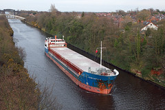 'Fehn Capella' Stockton Heath 10th April 2016 (John Eyres) Tags: she bridge manchester evening canal warrington ship weekend small sunday cement over we have fehn wharf after heading calling seen coaster along approaching outward on cantilever capella weaste 100416