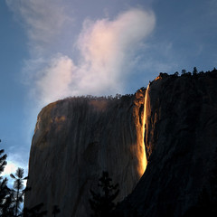 Earth; Born of Wind and Fire (Steve Corey) Tags: fire earthday horsetailfalls droh liquidgold winterinyosemite firefalls yosemte dailyrayofhope stevecorey