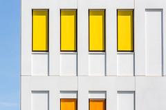 Mondriaan(ish) building (bingrens) Tags: orange yellow antwerp geometrical simple minimalistic