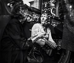 Old Friends. (pmpiasecki) Tags: street city nyc newyorkcity urban reflection reflections blackwhite streetphotography