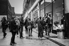 Brick Lane gathering (sara.wendelmelhuish) Tags: street bw london art mono gallery candid crowd group streetphotography gathering popup bricklane eastend