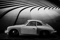 childhood dream. (HansEckart) Tags: auto blackandwhite bw monochrome car toy dream dreaming porsche vehicle spielzeug kindheit fantasie miniatur trume traum