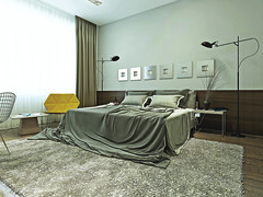Bedroom (King Creative Media) Tags: wood family light vacation brown house black glass lamp leather yellow wall comfortable modern table design tv 3d bed bedroom chair apartment floor contemporary interior gray paintings style ukraine pillow made blanket curtains spacious wardrobe flooring visualization tulle striped stucco polished floorlamp stylish wenge cloakroom luxurious inserts moldings bedsidetables carpetpile