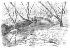 Ravine 2 (light and shadow by pen) Tags: art pen ink landscape drawing ravine
