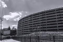 Bloomingdale Trail east pic16 4-25-2016 (Artemortifica) Tags: street bridge sky chicago cars clouds buildings construction blueline crane bikes graffity milwaukee western trucks damen