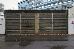 air vents (micmol ) Tags: street city autumn two paris france building fall wet water leaves horizontal architecture grid leaf day outdoor nobody sidewalk repetition symmetric parallel fr ventilation