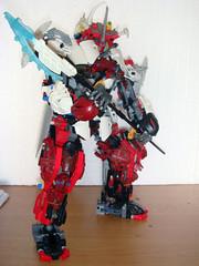 LEGO WHITE Samurai Warrior [M.O.C] (demon14082001) Tags: white robot lego technic bow warrior samurai katana creature bionicle mecha spear moc