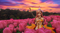 Golden Lady with Golden Light (Ateens Chen) Tags: sunset portrait sky people lightpainting flower nature forest nikon outdoor dusk tulip shiningwind afterglow ateens maxfactory scalefigure kureha d700 nikonafsnikkor35mmf14g