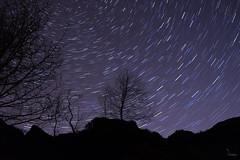 A 12 minute quickie (Waving lights in the dark) Tags: nightphotography stars star nocturnal derbyshire peakdistrict peak trail afterdark startrails padley quickie padleygorge