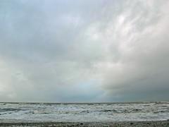 Rise (Hilary Causer) Tags: winter light sea sky seascape colour wales clouds grey december space minimal simple cloudscape beachwalking criccieth